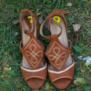 Open toe brown wedge shoes